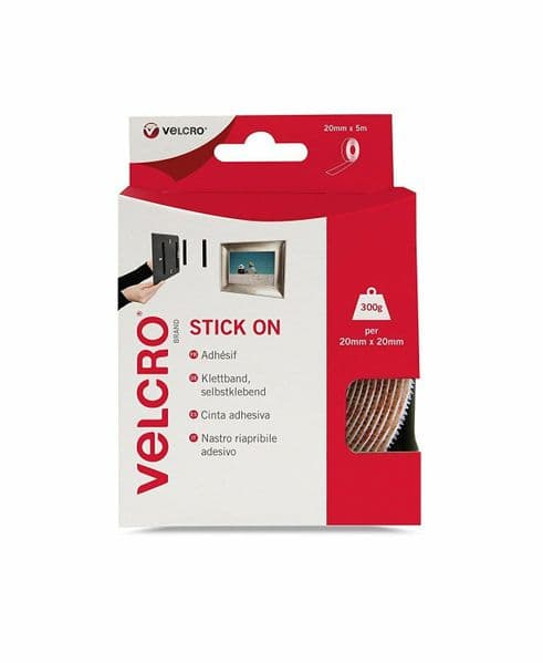White VELCRO Self Adhesive Tape Stick On Super Strong Hook & Loop - 20mm x 5m